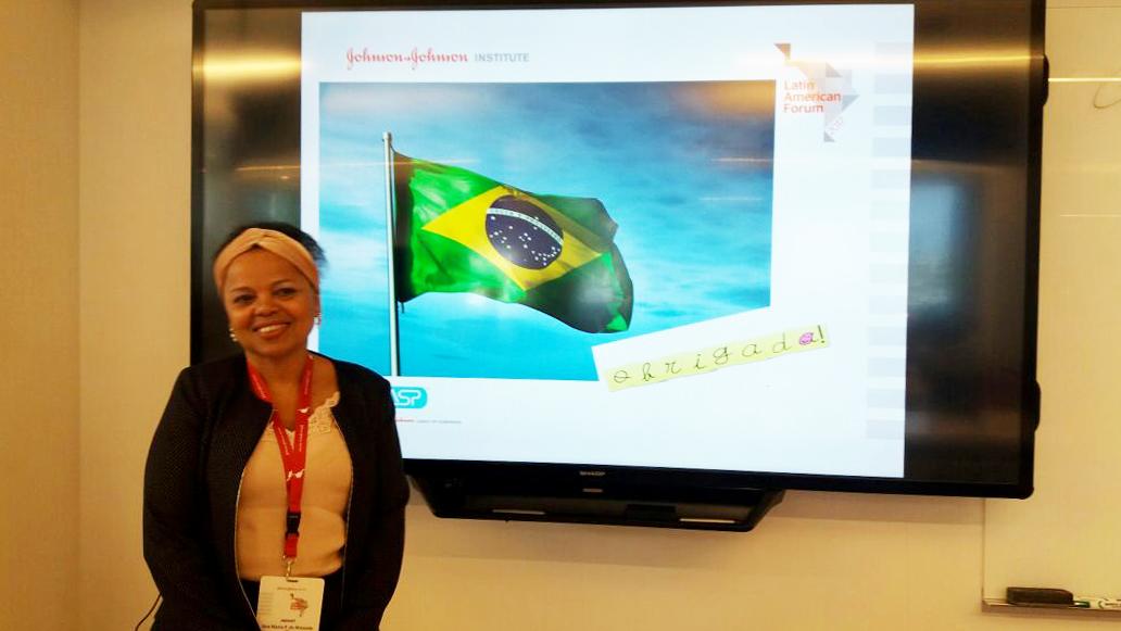 Ana Miranda, Diretora Executiva do Portal NasceCME e da Revista NasceCME Magazine, durante sua palestra no Fórum Latino Americano de Prevenção de Infecções da ASP no Johnson&Johnson Institute - Califórnia, Estados Unidos
